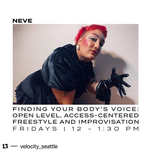 Image description: White background and black text with the name and description of a dance class surrounds a portrait of a dancer. It is a Hip and elbow up selfie portrait of the artist NEVE. Neve is a rosy brown-skinned Black non-binary and trans person with short red hair, wearing a black velvet dress and black vinyl gloves. They are posing on their hands and knees in front of a white wall, left gloved hand lifted and fingers spread.